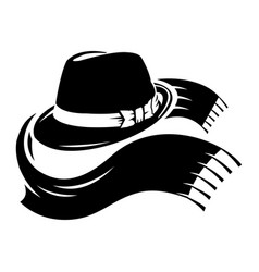 Black fedora hat with scarf vector