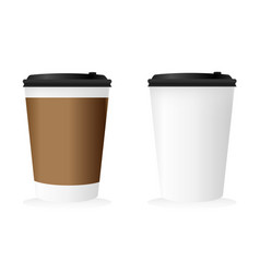 blank paper mockup of coffee cup set vector image