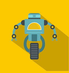blue cyborg on wheel icon flat style vector image