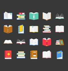Book in various icon back to school theme in flat vector