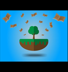 books flying from large tree energy saving vector image
