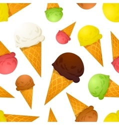 Bright colorful ice cream cones different tastes vector