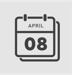 calendar day 8 april days year vector image