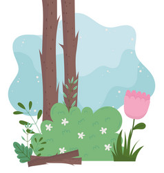 Camping trunks bushes flowers foliage vegetation vector