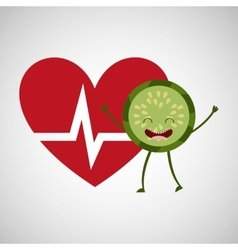 Cartoon heart kiwi fruit vector