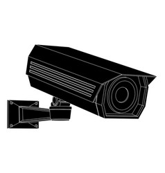 cctv security camera black outline vector image