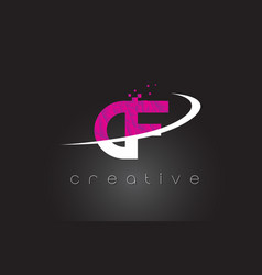 Cf c f creative letters design with white pink vector