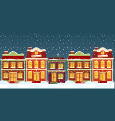 christmas houses in cartoon winter city street vector image
