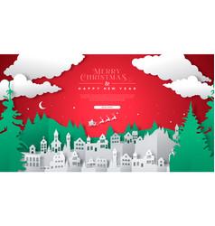 Christmas papercut village landscape web template vector