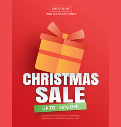 Christmas sale with gift box on red background vector