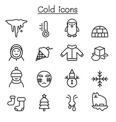 cold icon set in thin line style vector image