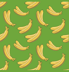 Colored seamless pattern with bananas in vintage vector