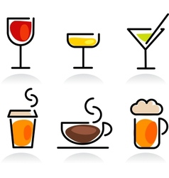 colorful beverage icon set vector image