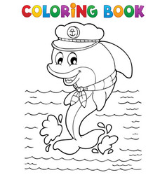coloring book dolphin theme 1 vector image