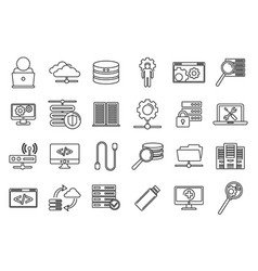 Company it administrator icons set outline style vector