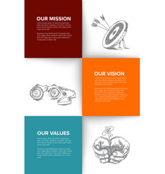Company profile template with mission vision and vector