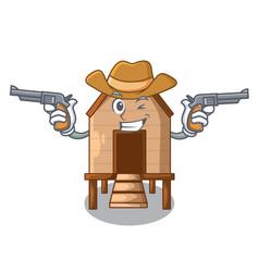 Cowboy cartoon chicken the in coop shape vector