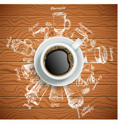 Cup of coffee with coffee drinks creative vector