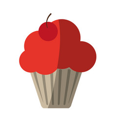 Cupcake garnished with cherry icon image vector