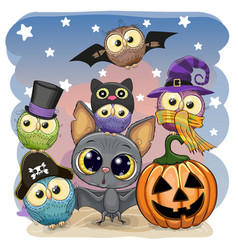 cute cartoon bat with pumpkin and five owls vector image