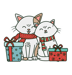 Cute couple cat with gifts celebration merry vector