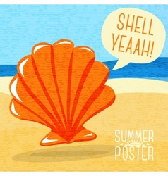Cute summer poster - sea shell on the shore with vector