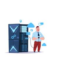 data storage cloud center with hosting servers and vector image