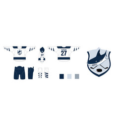 Design hockey uniform - style sharks logo hockey vector
