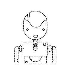Dotted shape tecnology robot face with chest vector