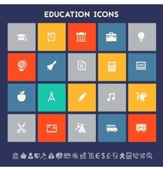 Educational icon set Multicolored square flat vector