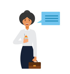 female teacher says secretary cartoon flat vector image