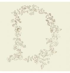 Floral font letter d vector