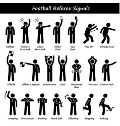 Football soccer referees officials hand signals vector