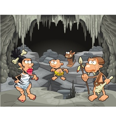 Funny prehistoric family in the cavern vector