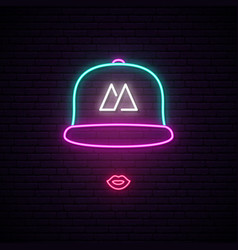girl with baseball cap neon sign bright neon vector image