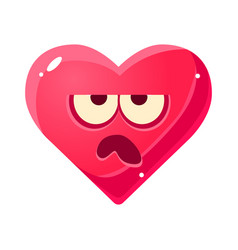 grumpy emoji pink heart emotional facial vector image