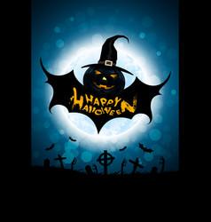 halloween background with bat monster vector image