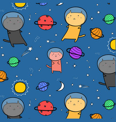 hand drawn cute cats astronauts in the space vector image