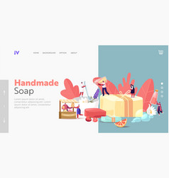 Handmade soap producing landing page template vector