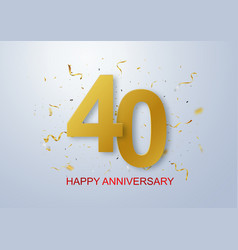 happy anniversary banner celebration with gold vector image