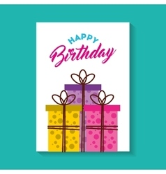 Happy birthday celebration card with gifts vector