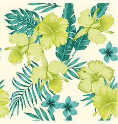 Hibiscus plumeria leaves blue lime color tropical vector