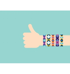 Hitchhiking hand with hippy friendship bracelets vector