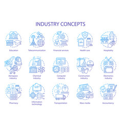 Industry concept icons set technology development vector