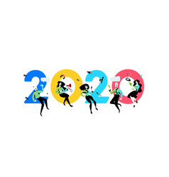 inscription 2020 new year in office vector image