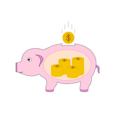 isolated pig piggy bank money icon vector image