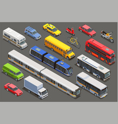 Isometric city vehicle set vector