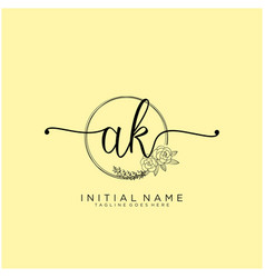 Letter initial ak beauty monogram and elegant vector