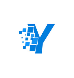 logo letter y blue blocks cubes vector image