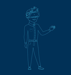 Man silhouette wearing 3d virtual reality glasses vector